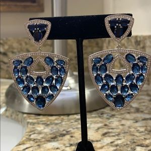Tanzanite and CZ Earrings 925 New